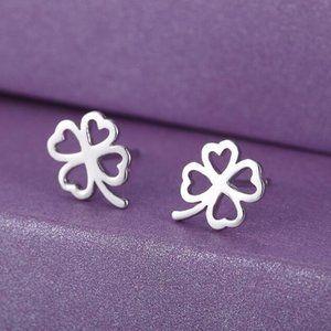 Jewelry - NEW 925 Sterling Silver Clover Stud Earrings